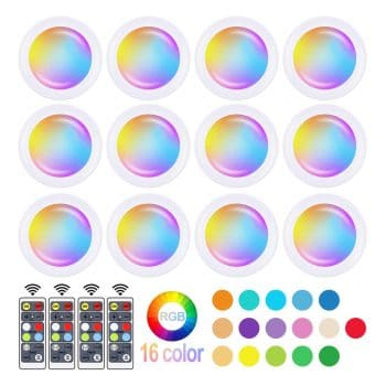 SIXDEFLY Wireless 12 Pack 16 Color Changing Battery Powered LED Puck Light
