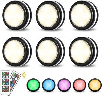 Elfeland Puck Lights Dimmable Under Cabinet Lighting, Closet Lights (6 Pack)
