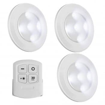 SunnyFusion Wireless Battery Powered LED Puck Lights Dimmable Closet Light (3 Pack)