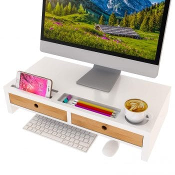 ZRI Bamboo Computer Monitor Stand with Drawers