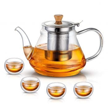 SUSTEAS Glass Teapot with a Removable Infuser
